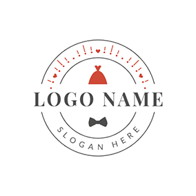 Love Circle and Red Wedding Dress logo design