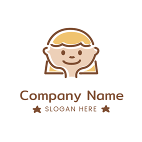 Lovely Brown Rectangle and Kid logo design