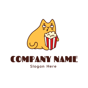 Lovely Cat and Delicious Popcorn logo design