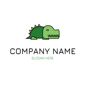 Lovely Green Alligator Icon logo design