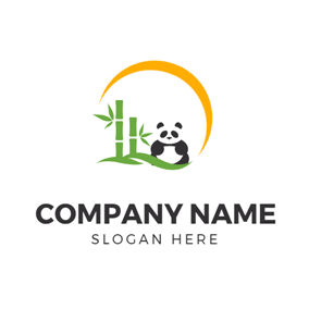 Lovely Panda and Green Bamboo logo design