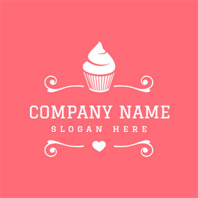 Lovely Pink and White Cake logo design