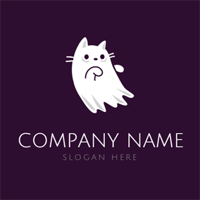 Lovely White Cat logo design