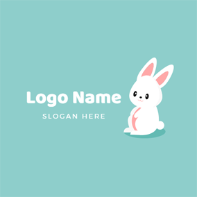 Lovely White Rabbit and Anime logo design