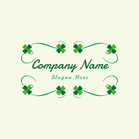 Lucky Clover Cirrus Leaf Decoration logo design