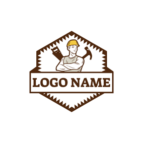 Lumbering Tool and Woodworking Worker logo design