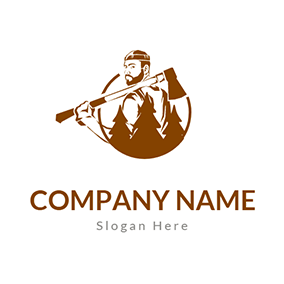 Lumberjack With Axe and Tree logo design