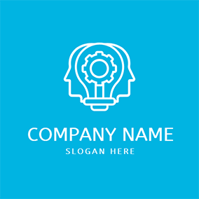 Machine Human Head and Ai logo design