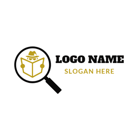 Magnifying Glass and Detective logo design