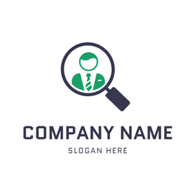Magnifying Glass and Staff logo design
