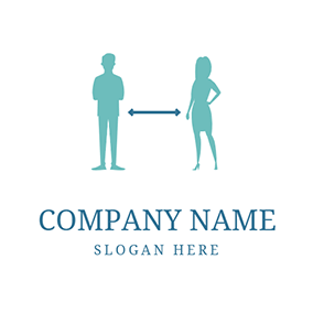 Man Woman and Social Distancing logo design