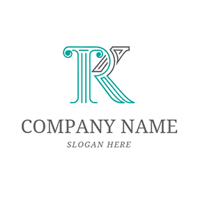 Marble Pillar and Letter R K logo design