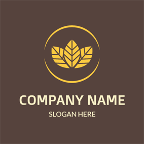 Maroon and Yellow Leaf logo design