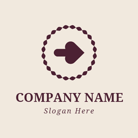 Maroon Circle and Lovely Arrow logo design