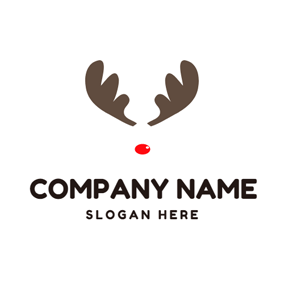 brown christmas tree maroon elk antlers and red nose logo design - Merry Christmas Logos
