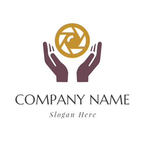 Maroon Hand and Brown Lens logo design