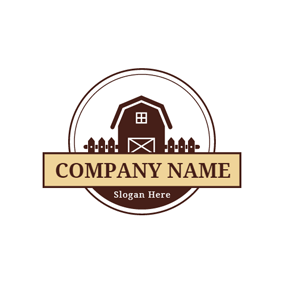 Maroon House and Circle Farm logo design