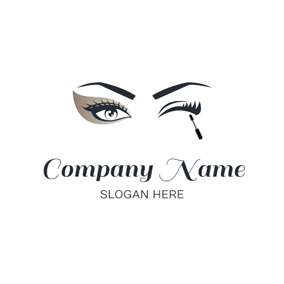 Mascara Cream and Eyelash logo design