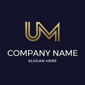 Metal Golden Letter U M logo design