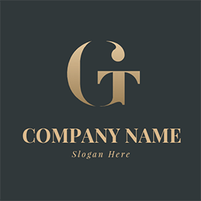 Metal Gradient and Simple Letter G T logo design