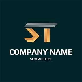 Metal Stereoscopic Letter S T logo design