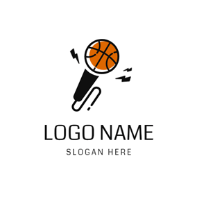Microphone Shape and Basketball logo design
