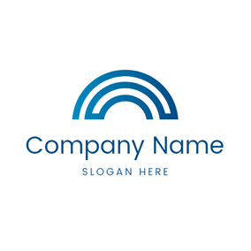 Minimal Blue and White Bridge logo design