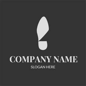 Minimalist Black and White Shoeprint logo design