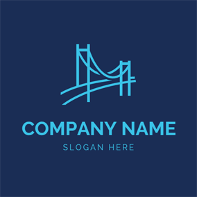 Minimalist Blue Bridge logo design