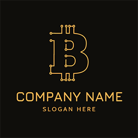 Minimalist Chain and Bitcoin logo design