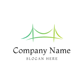 Minimalist Gradient Green Bridge logo design