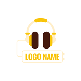 Modern Wired Headphone logo design