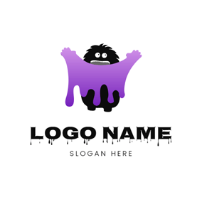 Monster and Purple Slime logo design