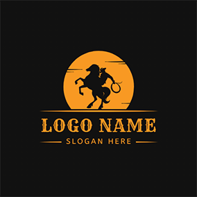 Moon Horse Rider Rodeo logo design