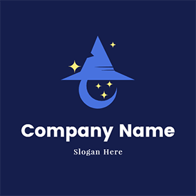 Moon Wizard Hat logo design