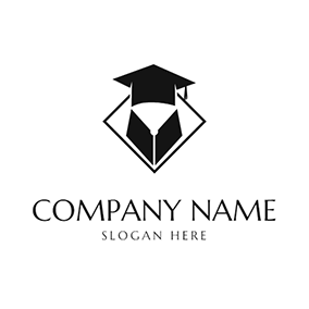 Mortarboard and Abstract Gown logo design