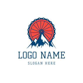 Mountain and Bike Wheel logo design