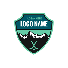 Mountain and Green Hockey Emblem logo design
