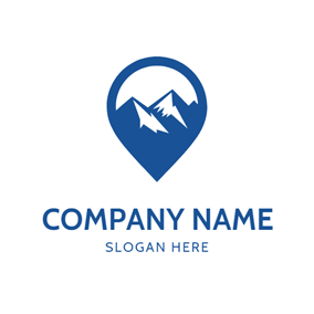 Mountain and Location Icon logo design