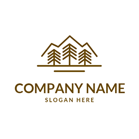 Mountain and Tree Outline logo design
