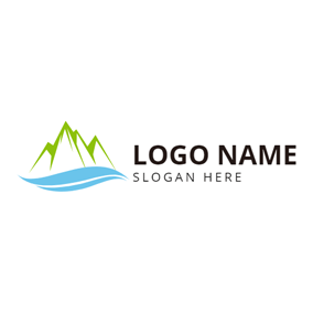 Mountain Outline and Small River logo design