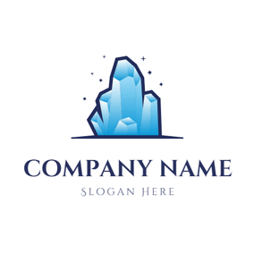Mountain Shape and Crystal logo design