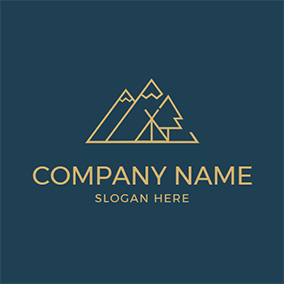 Mountain Tent Tree Camping logo design