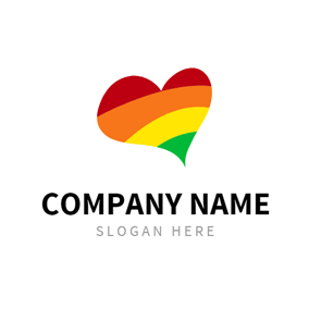 Multicoloured Heart and Rainbow logo design