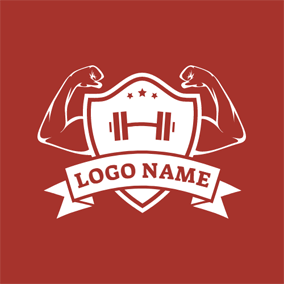 Muscle Badge and White Banner logo design
