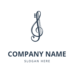 Music Note and Violin String logo design