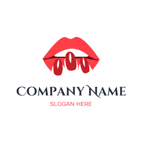 Nail Polish and Red Lip logo design