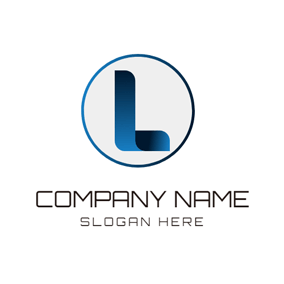 Navy Blue Circle and Letter L logo design