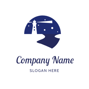 Night Sky and White Lighthouse logo design
