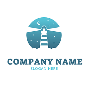 Night Star Lighthouse Coast logo design